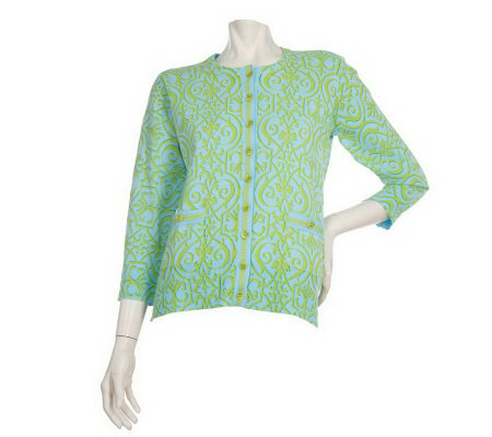 Lilly & Van Printed Cardigan with Grosgrain Ribbon Detail