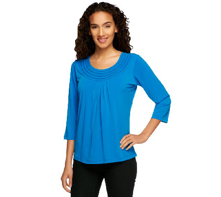 Susan Graver Liquid Knit 3/4 Sleeve Swing Top w/ Lattice Trim