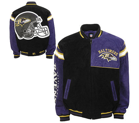 Nfl Baltimore Ravens Genuine Suede Leather Jacket Qvc Com