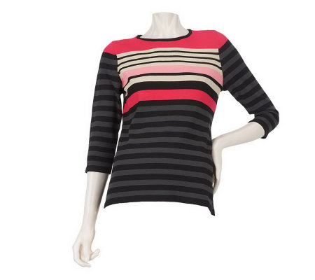 Linea by Louis Dell'Olio 3/4 Sleeve Jewel Neck Striped Sweater