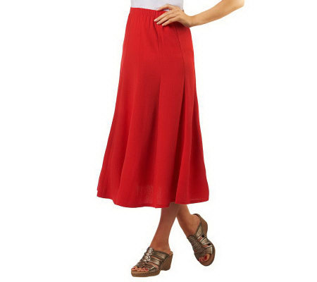 Susan Graver Crinkle Gauze Pull-on Skirt