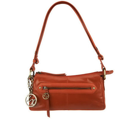 Maxx New York Glazed Leather Zip Top Bag w/ Glazed Leather and Pebble Trim