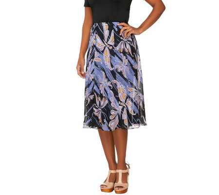 Bob Mackie's Mariposa Print Pull-on Fully Lined Godet Skirt