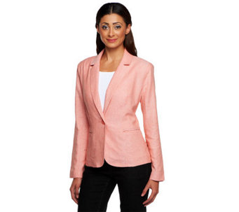 Kelly by Clinton Kelly Notch Collar Linen Blazer w/ Front Pockets - A233174