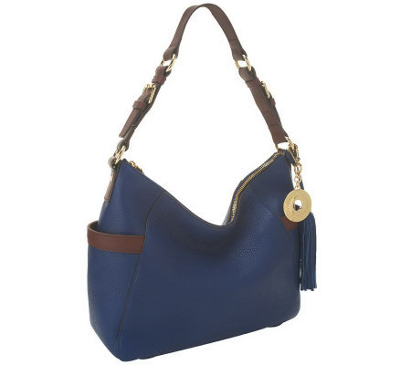 Isaac Mizrahi Live! Bridgehampton Pebble Leather Zip Top Hobo