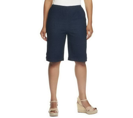 """As Is"" Denim & Co. Classic Waist Side Lace-Up Bermuda Shorts"
