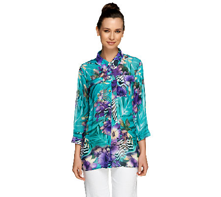 Susan Graver Printed Sheer Chiffon Button Front 3/4 Sleeve Blouse