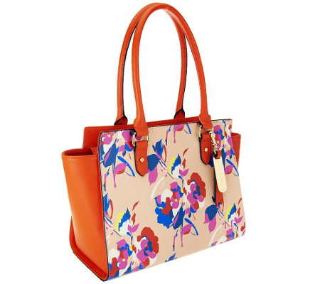 Emma and Sophia Printed Saffiano Leather Charlotte Tote