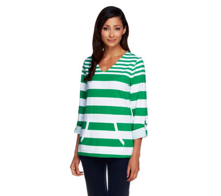 Susan Graver Weekend Striped Stretch Cotton Top with Roll Tab Sleeves