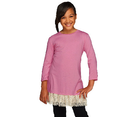 LOGO Littles by Lori Goldstein 3/4 Sleeve Knit Top with Lace Trim
