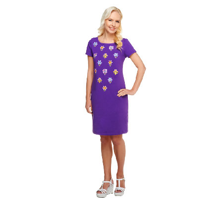 Bob Mackie's Floral Embroidered T-Shirt Dress
