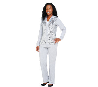 Quacker Factory Sequin Front Jacket and Pants Set - A256874