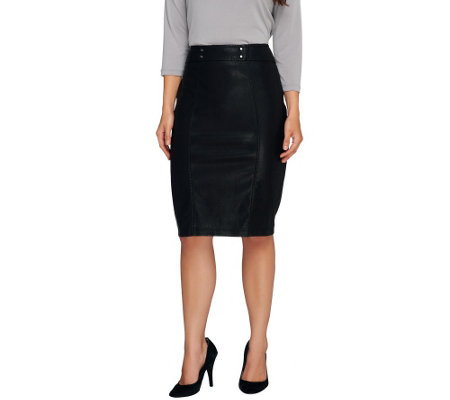 SA by Seth Aaron Faux Leather Skirt with Stud Detail