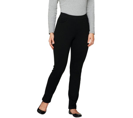 Denim & Co. Petite Ponte Knit Slim Leg Pants