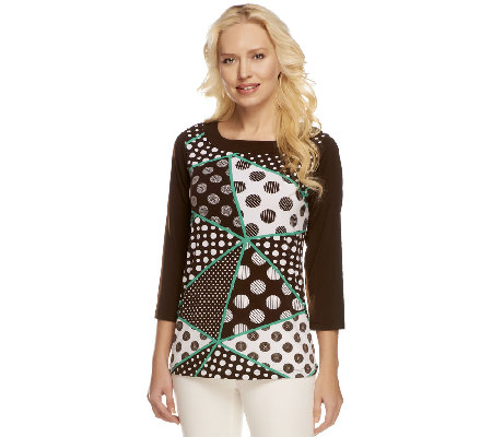 """As Is"" Susan Graver Liquid Knit Printed Top with Solid Trim"