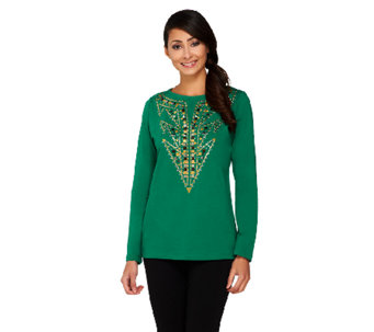 Bob Mackie's Studded Detail Pullover Top - A260174
