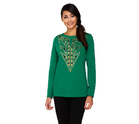 Bob Mackie's Studded Detail Pullover Top