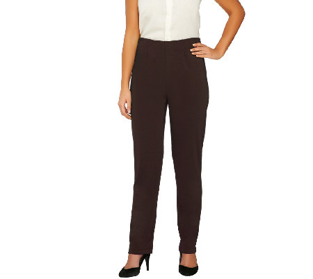 Susan Graver Regular Milano Knit Straight Leg Pull-On Pants