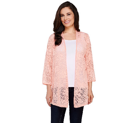 Joan Rivers Sheer Patterned Waterfall Cardigan