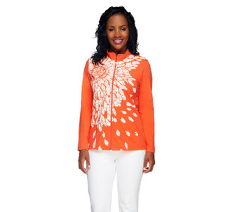"""As Is"" Susan Graver Printed Cotton Spandex Zip Front Jacket - A263674"