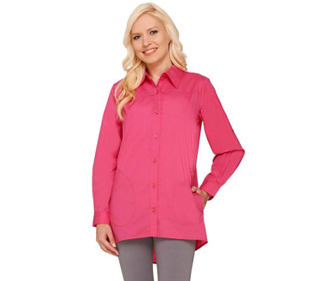 Joan Rivers Classic Boyfriend Shirt with Hi-Low Hem