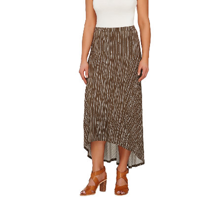 Lisa Rinna Collection Hi-Low Hem Maxi Skirt with Seam Detail