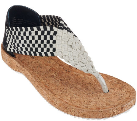 Adam Tucker Stretch Woven Thong Sandals - Adelle