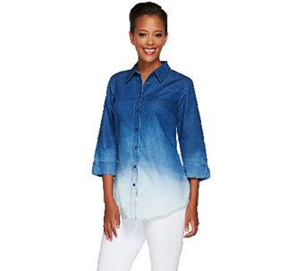 Liz Claiborne New York Dip Dye Denim Tunic - A266174