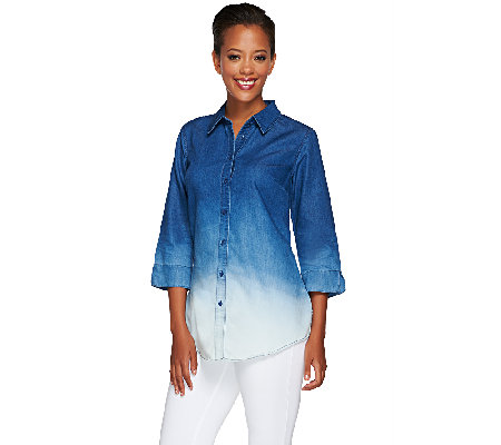 Liz Claiborne New York Dip Dye Denim Tunic
