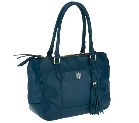 """As Is"" Isaac Mizrahi Live! Bridgehampton Lamb Leather Tote"