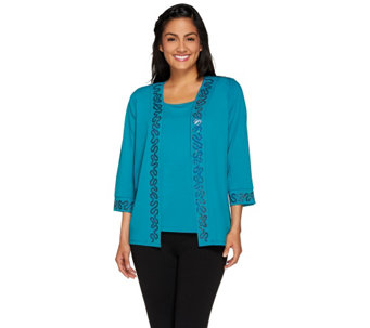 Bob Mackie's Vermicelli Sequined Cardigan and Knit Tank Set - A266374