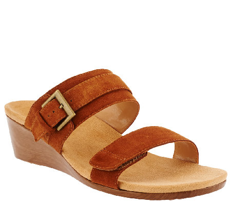 Vionic Orthotic Suede Wedges w/ Buckle - Natoma