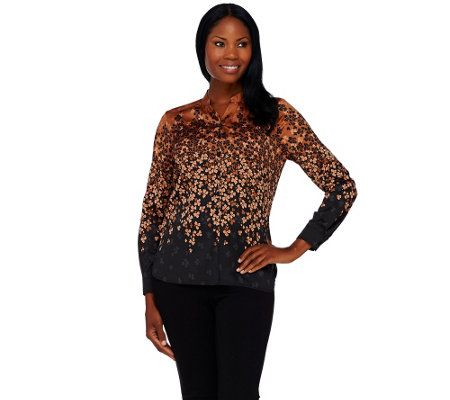 Bob Mackie's Ombre Floral Printed Button Front Top