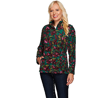 Liz Claiborne New York Floral Print Fleece Jacket
