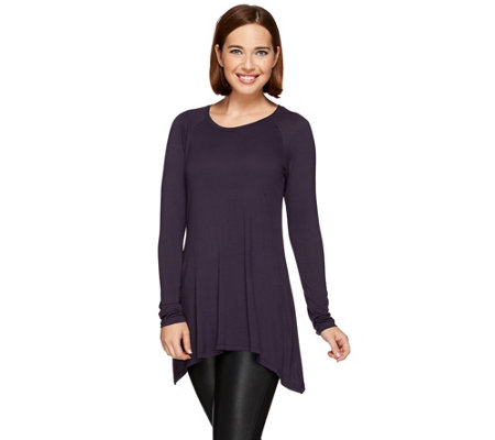 LOGO Layers by Lori Goldstein Raglan Sleeve Knit Top with Sharkbite Hem