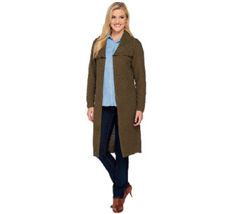 Denim & Co. Chevron Stitch Cardigan with Rib Shawl Collar - A270174
