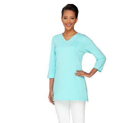 """As Is"" Denim & Co. Essentials Jersey V-Neck 3/4 Sleeve Knit Tunic"