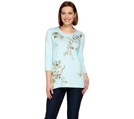 Quacker Factory Printed  Floral and Sequin 3/4 Sleeve T-shirt