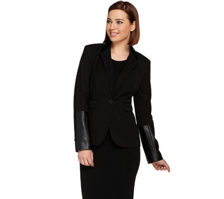 G.I.L.I. Faux Leather Trim Blazer