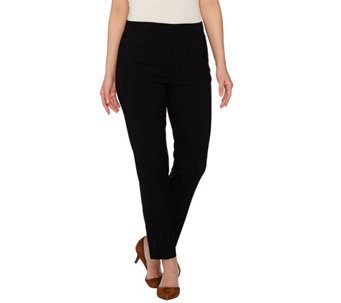 Susan Graver Chelsea Stretch Comfort Waist Pull-On Ankle Pants w/ Slits - A273474