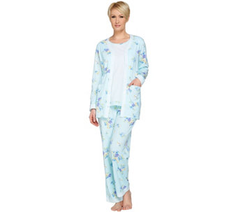 Carole Hochman Gardenia Blossoms Cotton Jersey 3-Pc Pajama Set - A273574