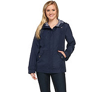 Susan Graver Hooded Jacket with Striped Lining - A273974