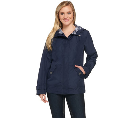 Susan Graver Hooded Jacket with Striped Lining