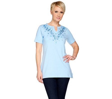 Quacker Factory Butterfly Blues Split Neck Short Sleeve Tunic