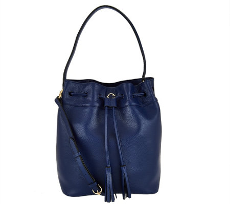 C. Wonder Pebble Leather Drawstring Bucket Handbag