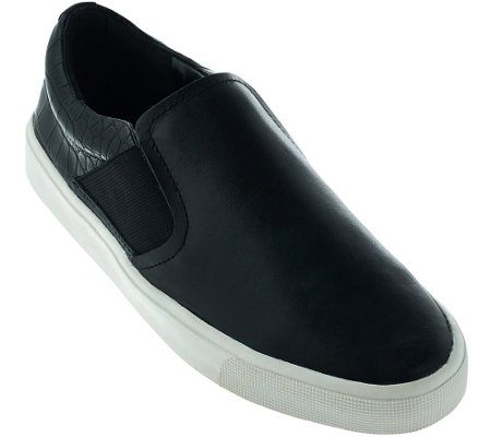 """As Is"" H by Halston Double Gore Slip-on Leather Sneakers - Alex"