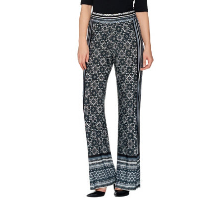 Attitudes by Renee Petite Pull-On Border Print Knit Pants
