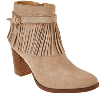 C. Wonder Suede Ankle Boots with Fringe - Willa - A279974