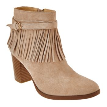 C. Wonder Suede Ankle Boots with Fringe - Willa