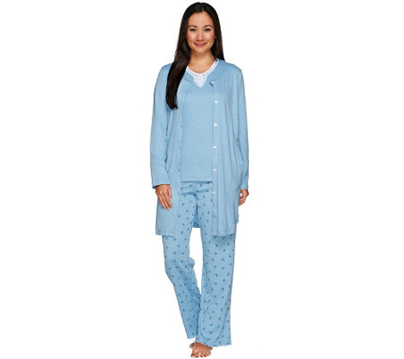 Carole Hochman Tall Rose Bud Interlock 3-Pc Pajama Set with Lace Trim